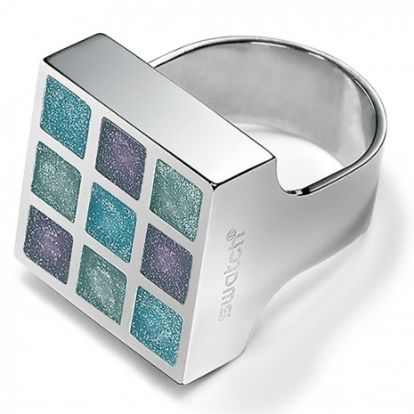 Swatch Bijoux Prismatic Blue Silicon Ring Anéis