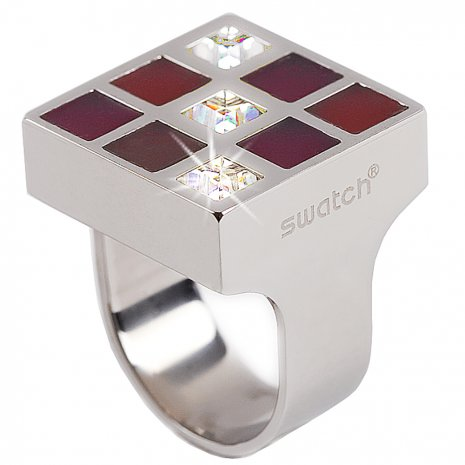 Swatch Bijoux Prismatic Red And Crystals Ring Anéis