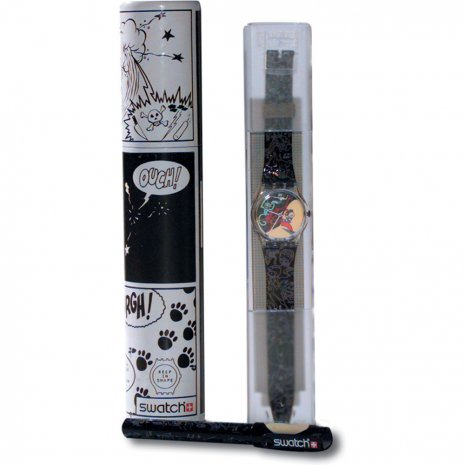 Swatch Comic Hour Tube With Pen (Jungle Tangle) relógio